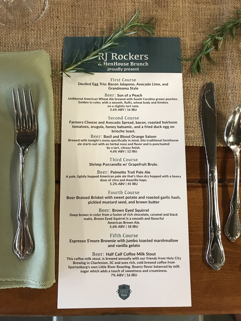 RJ Rockers HenHouse Brunch Beer Dinner Menu