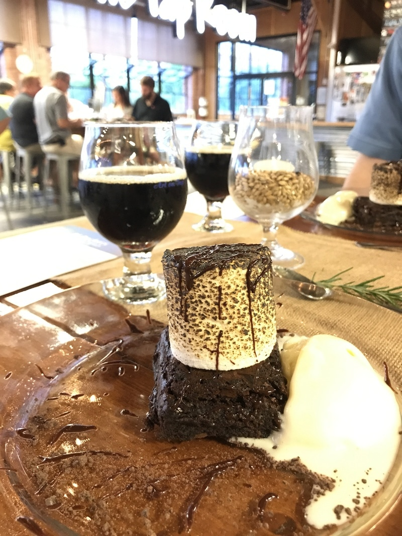 Espresso S'more Brownie with jumbo toasted marshmallow and vanilla gelato served with RJ Rockers Half Calf Coffee Milk Stout